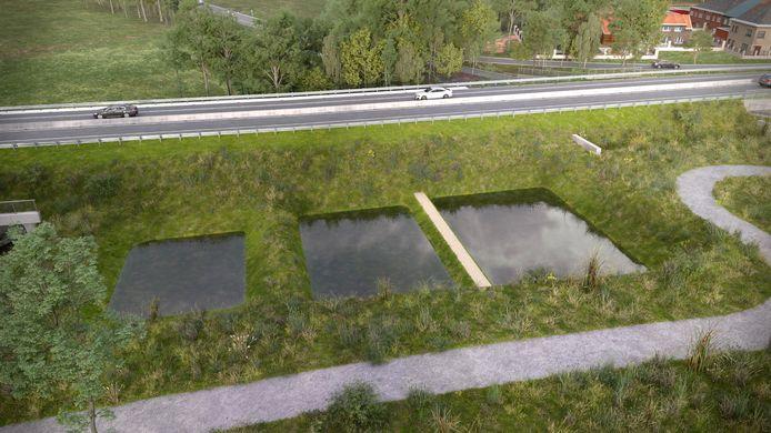Langs de nieuwe N42 worden bufferbekkens voor water voorzien.