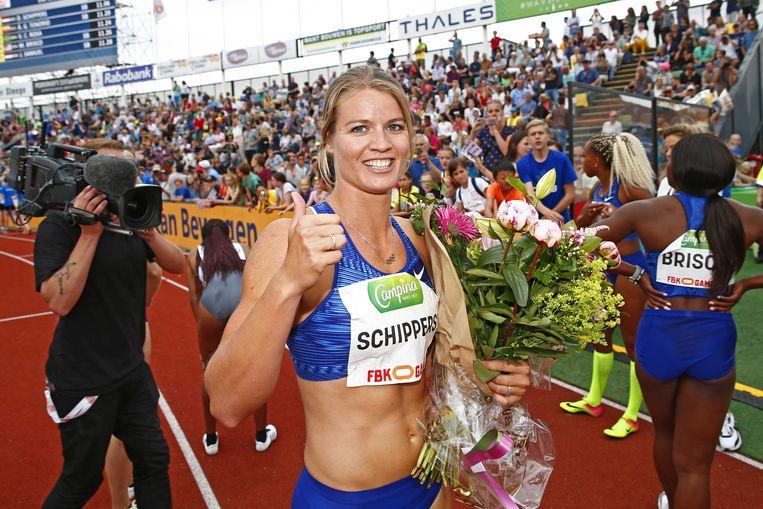 Dafne Schippers na het behalen van de eerste plaats op de 100 meter tijdens de FBK Games in 2019. Beeld ANP / Vincent Janninki