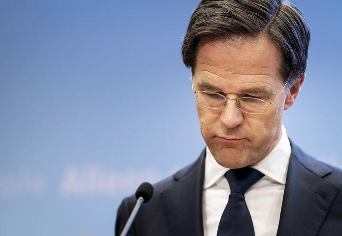 Premier Mark Rutte tijdens een persconferentie. Zijn derde kabinet gaat de eindstreep niet halen.
