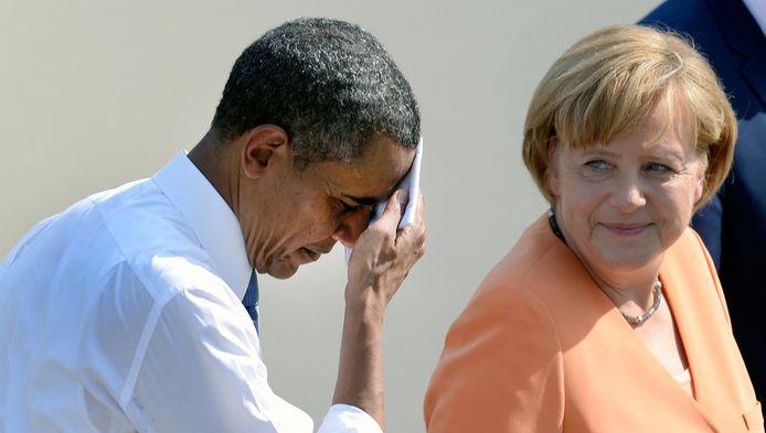 De Amerikaanse president Barack Obama en de Duitse bondskanselier Angela Merkel in Berlijn in juni dit jaar. .