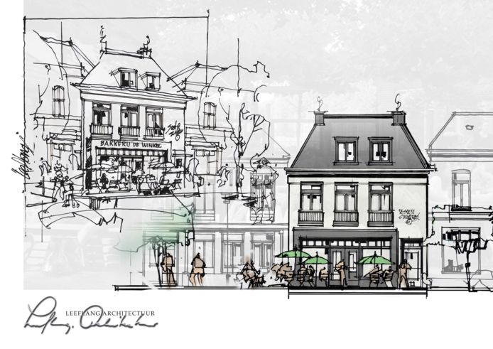 Een impressie van het nieuw te bouwen pand op het Marktplein in Brummen.