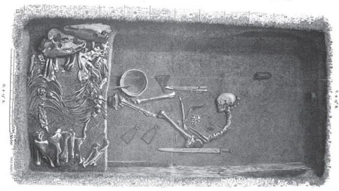 Illustratie van het opmerkelijk rijk gevulde graf met het skelet van, naar nu blijkt, een hooggeplaatste vrouwelijke Vikingstrijder.