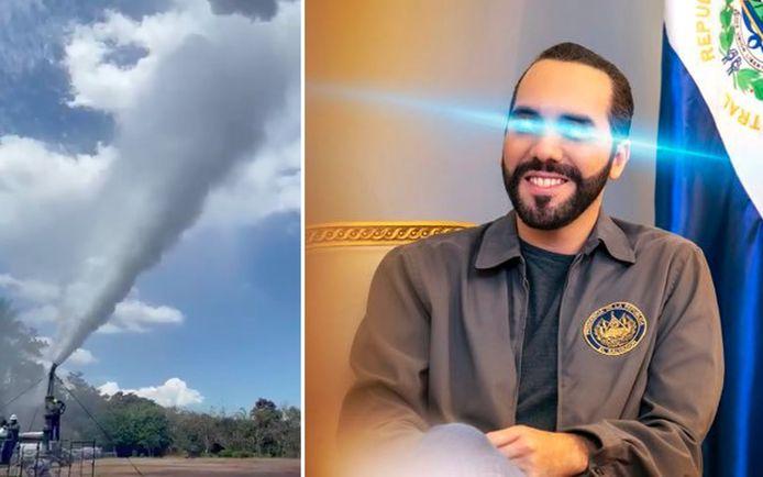 President Nayib Bukele voegde op zijn Twitter-profielfoto 'lasereyes' toe, een populaire meme onder bitcoinfans. Hij postte ook een filmpje dat moet aantonen hoe vulkanen energie kunnen opwekken.