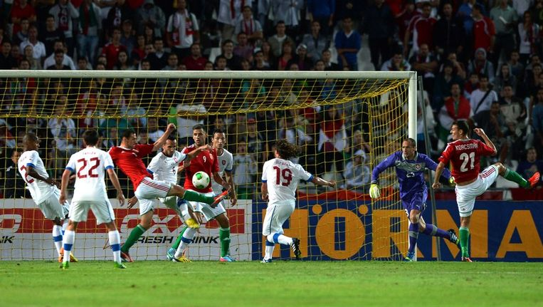 Hongarije kwam niet langs Tsjechië (1-1). Beeld afp