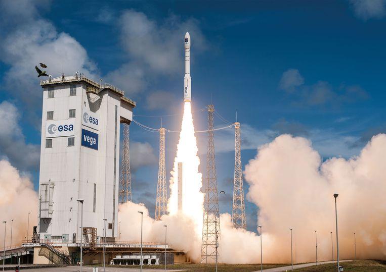 Lancering op 5 december 2016 in de Europese ruimtehaven Kourou. Beeld AFP