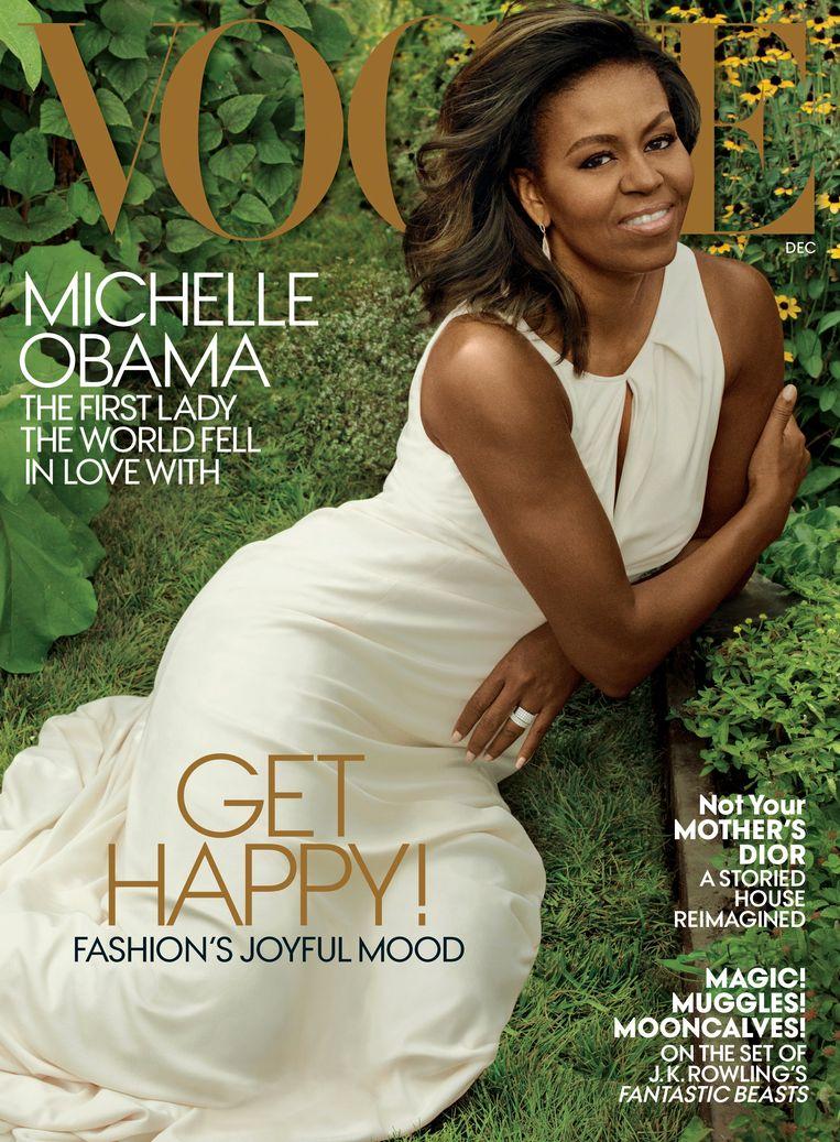 December 2016, Vogue met Michelle Obama, gefotografeerd door Annie Leibovitz, witte jurk van Carolina Herrera. Beeld
