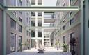 Impressie van het de patio binnen het nieuwe woningbouwplan voor het 50KV stroomstation aan de Oranjelaan 1 in Dordrecht.