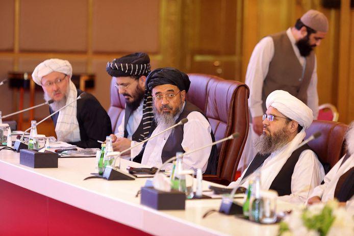 Leden van de talibandelegatie tijdens de vredesonderhandelingen in Doha.