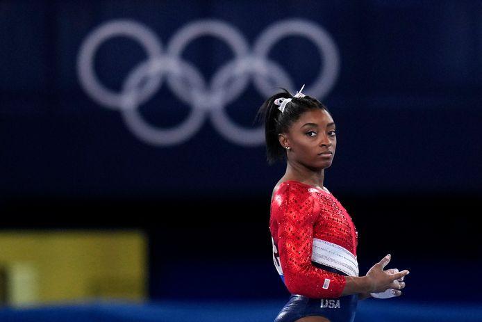 Simone Biles afgelopen dinsdag op de Spelen in Japan, voordat ze haar terugtrekken bekend maakte. Foto AP