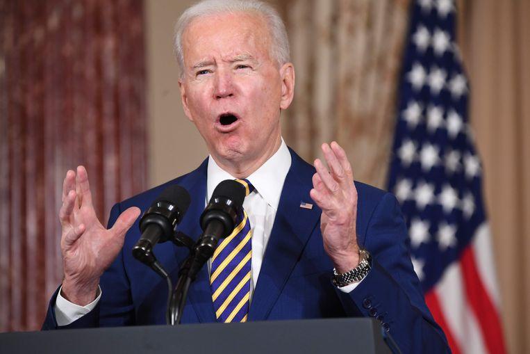 Zolang Iran zich niet aan het atoomakkoord houden zal president Biden de sancties tegen het land niet opheffen. Beeld AFP