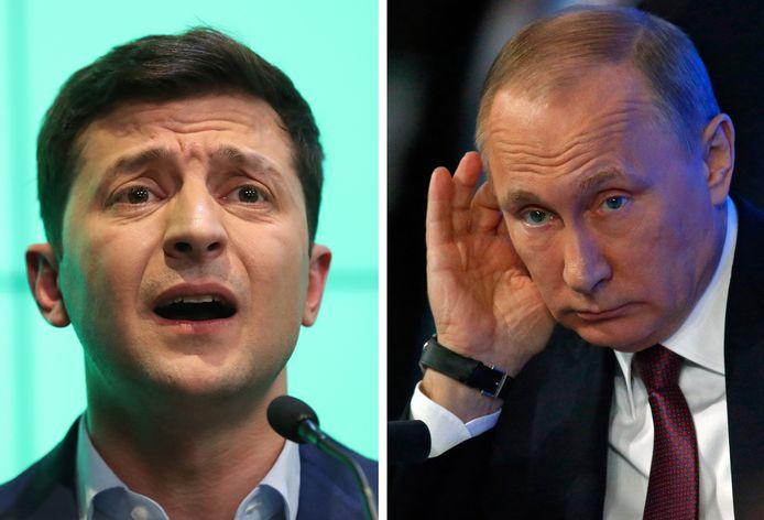 Le président ukrainien Volodymyr Zelensky et Vladimir Poutine, son homologue russe.