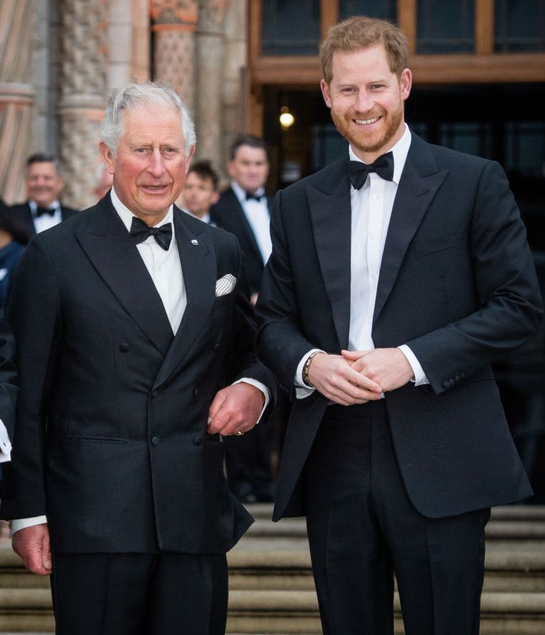 LONDON, ENGLAND - APRIL 04: Prince Charles, Prince of Wales and Prince Harry, Duke of Sussex attend the