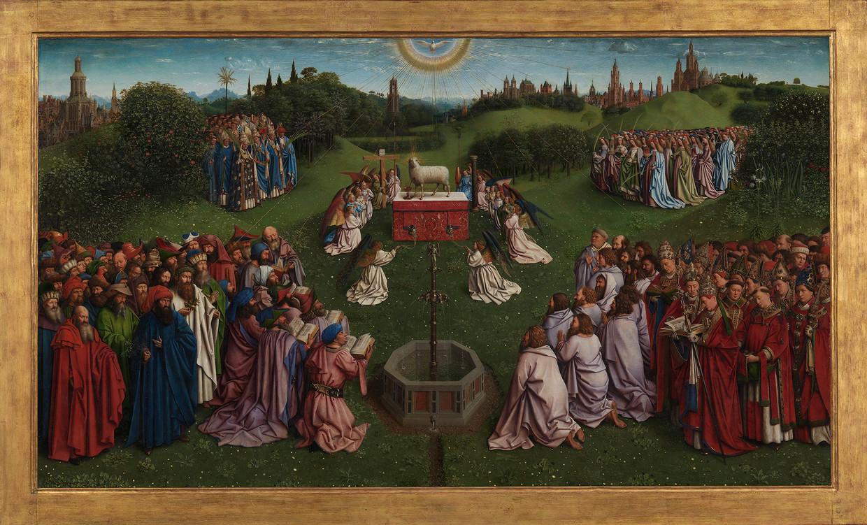 Het Lam Gods van Jan en Hubert van Eyck; middenpaneel met de Aanbidding van het Mystieke Lam. Sint-Baafskathedraal, Gent. Beeld KIK-IRPA