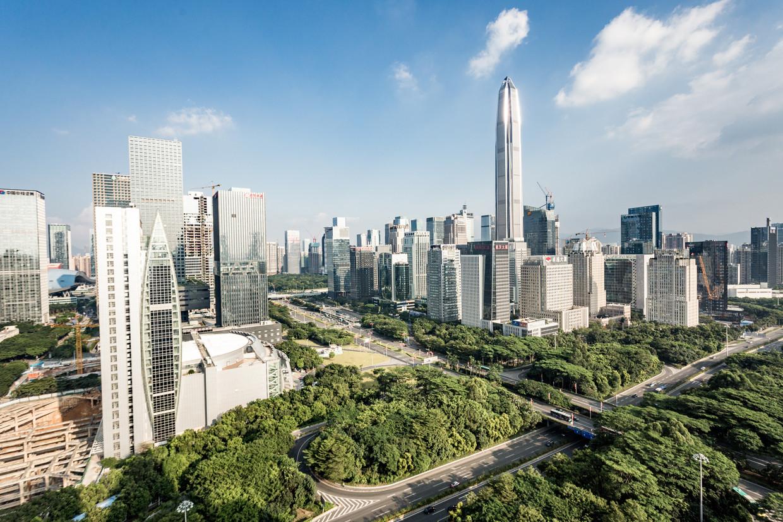 De skyline van Shenzhen.