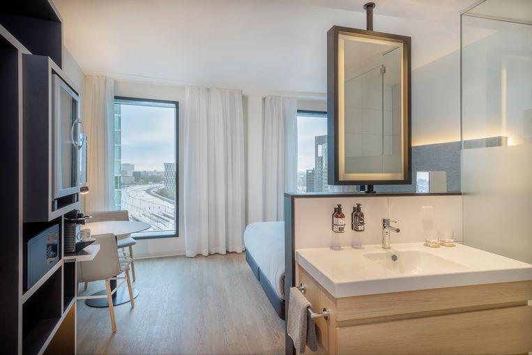 Hotelkamer van Innside by Meliá Amsterdam.  Beeld Innside