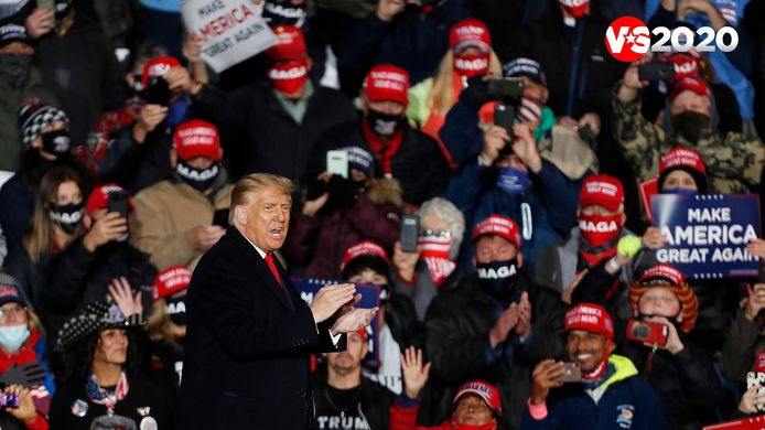 Trump tijdens een campagnerally in Ery, Pennsylvania.