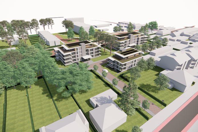 Een impressie van het luxe bouwplan met drie wooncomplexen achter de Mr. van Coothstraat in Waalwijk.