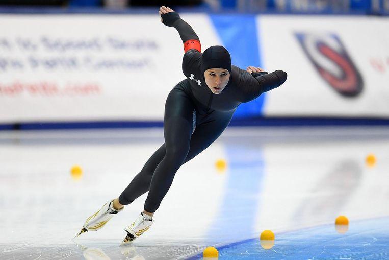 Brittany Bowe op de olympische trials voor Team USA in Milwaukee. Beeld afp