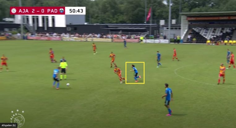 Fitz-Jim tegen Paderborn. Beeld Screenshot Ajax TV