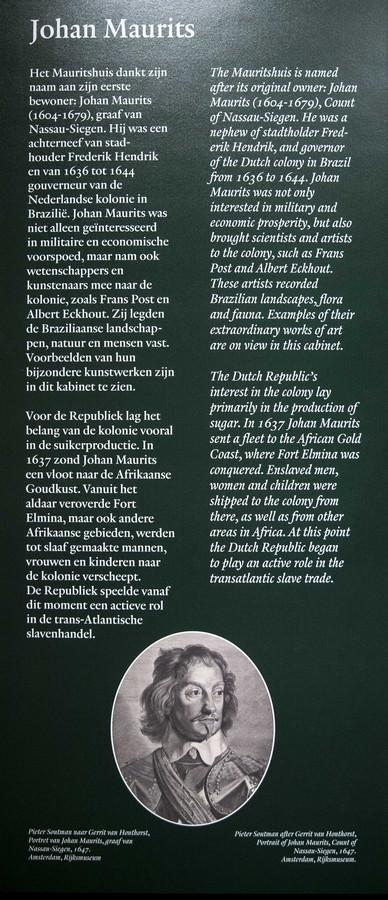 De zaaltekst toont het 'eerlijke verhaal' rond Johan Maurits.