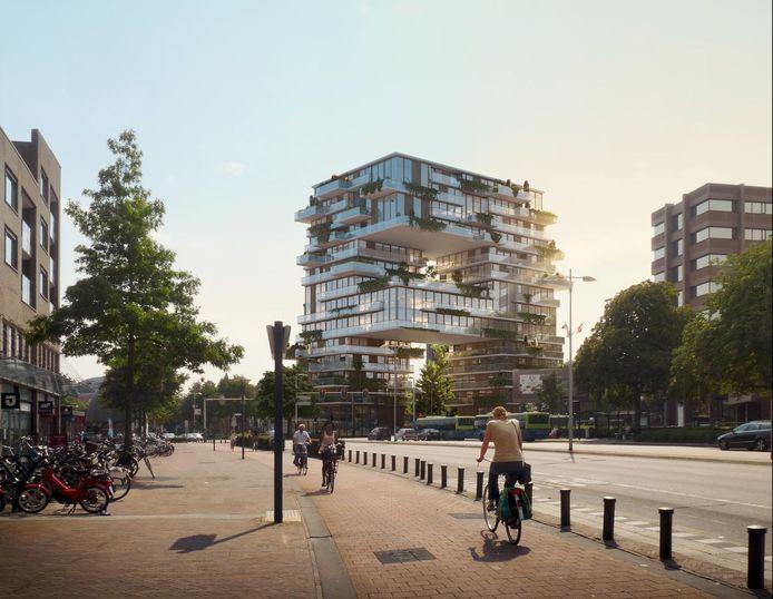 Impressie van het woongebouw The Spot aan de Stadsring.