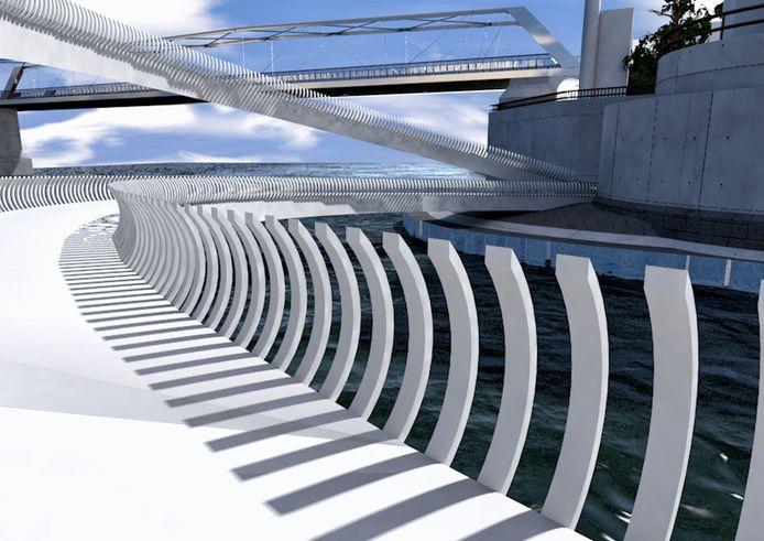 Het ontwerp van de ROC Nijmegen-studenten voor een wandel- en fietsbrug in de Waalhaven.