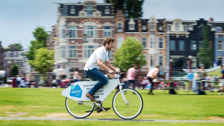 Albert Heijn beproefde vorig jaar al flitsbezorging van boodschappen in Amsterdam Beeld Tring Tring