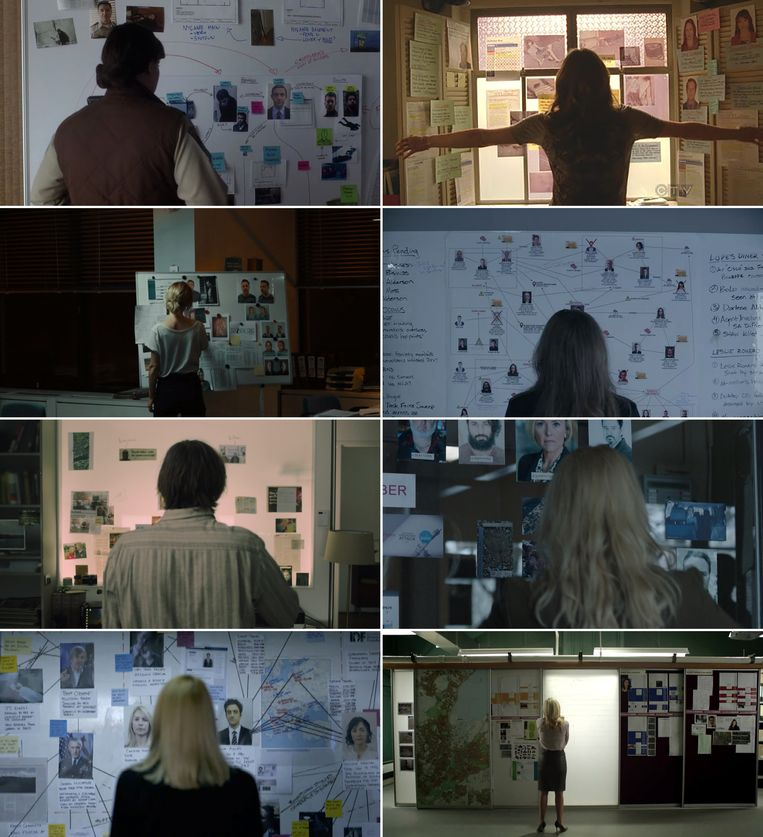 Mijmerend voor het bord. Met de klok mee vanaf linksboven: Fargo, Castle, Mr. Robot, The Bridge, The Fall, Homeland, Mocro Maffia en Red Light.  Beeld