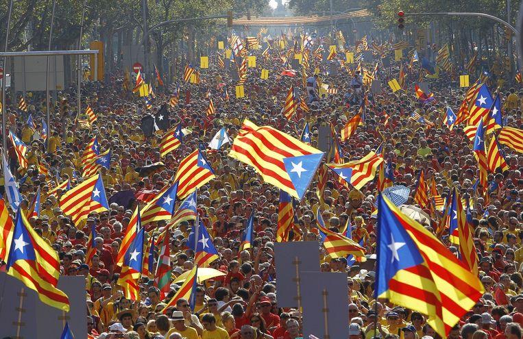 Een demonstratie voor de afscheiding van Catalonië, in september dit jaar. Beeld null