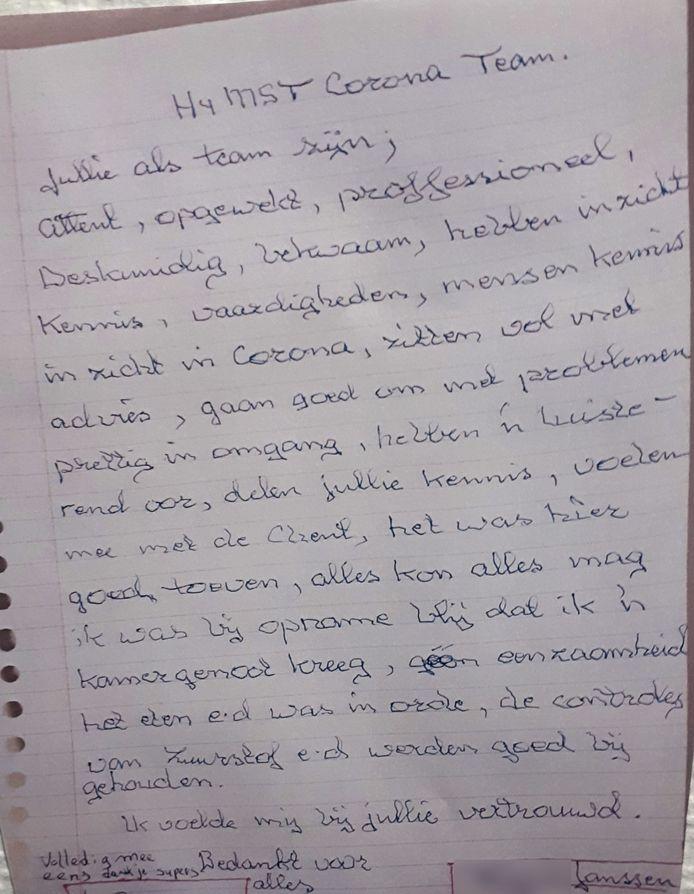 Op zijn ziekbed in het MST schrijft vader Janssen vol lof over de verpleging. De brief zelf werd vanwege corona vernietigd en is alleen in kopie bewaard gebleven.