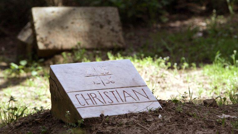 Het graf van abt Christian de Chergé, bij het Marokkaanse klooster 'Onze Vrouwe van de Atlas'. Beeld AFP / Fayez Nureldine