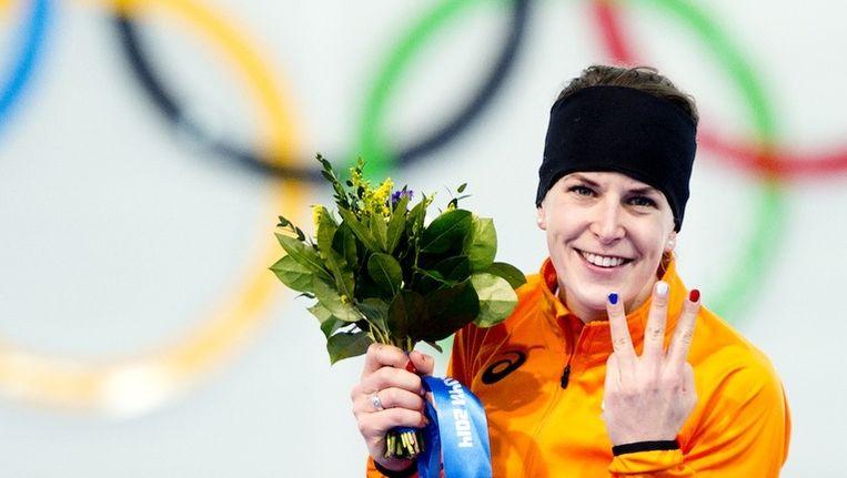 Ireen Wust won de gouden medaille op de 3000m. Het is de derde olympische titel uit haar loopbaan. Beeld Robin Utrecht