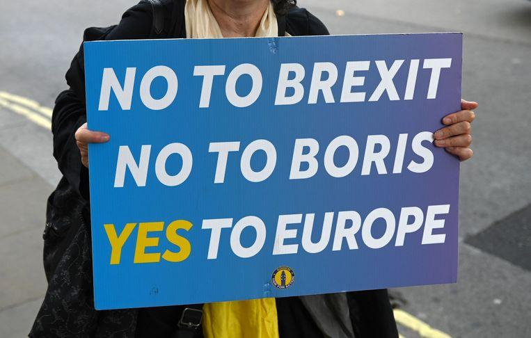 Een anti-brexitdemonstrant houdt een bord omhoog met nee aan brexit, nee aan Boris en ja aan Europa. Beeld AFP