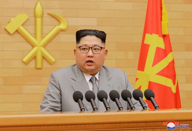 Kim Jong-un landt vandaag in Singapore. Beeld AP