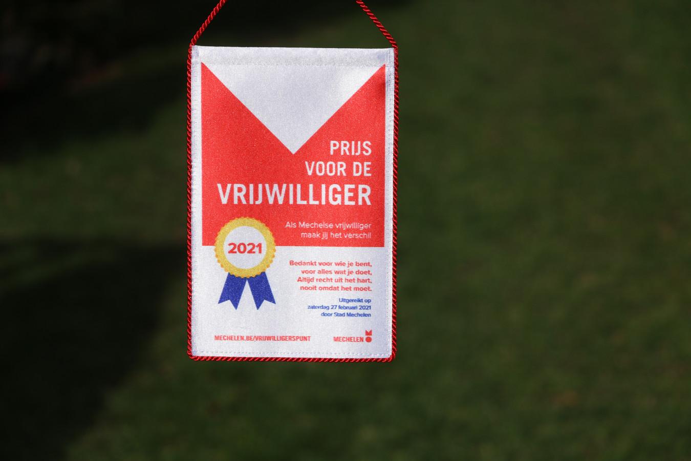 De wimpel die elke winnaar van de prijs voor de vrijwilliger ontving.