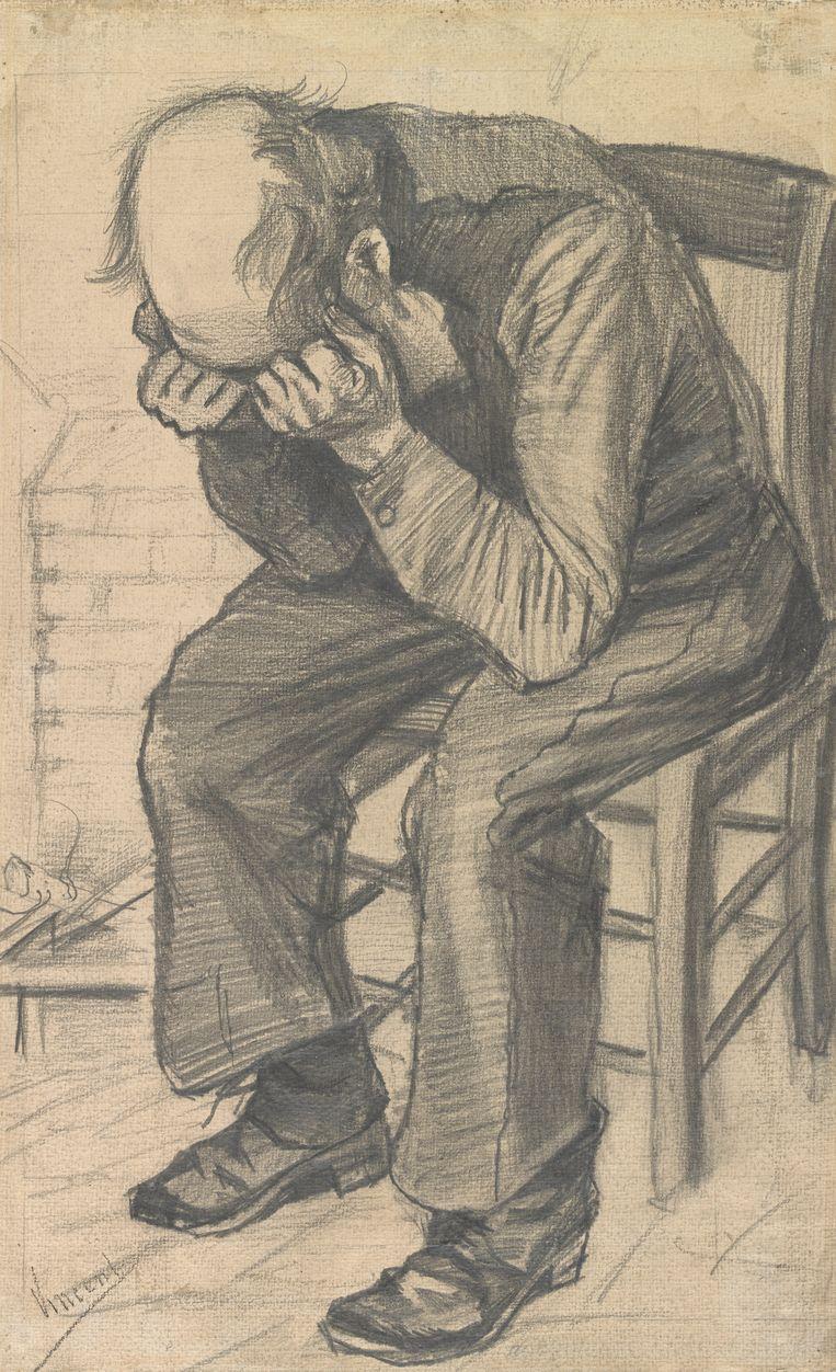 Deze tekening baseerde Vincent van Gogh op de voorstudie uit de particuliere collectie: Worn out (rond 24 november 1882), potlood op papier, 50.4 x 31.6 cm.  Beeld Van Gogh Museum Amsterdam