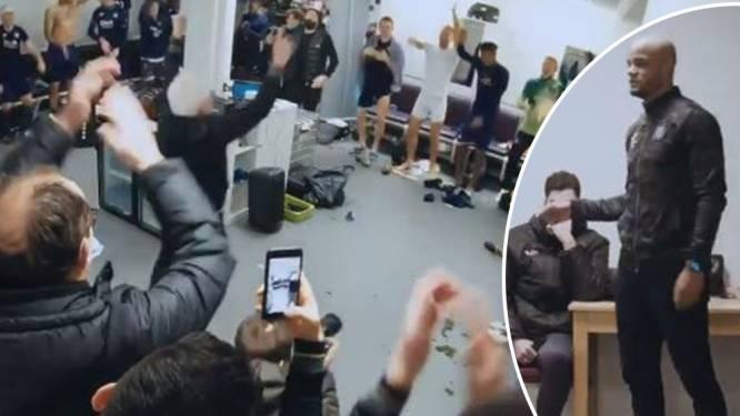 """Anderlecht viert zege intens in kleedkamer, Kompany: """"Bedankt én sorry"""" - Van den Brom: """"Zet me niet af als Calimero"""""""