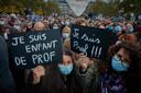 Protestmars in Parijs, na de moord op docent Samuel Paty.