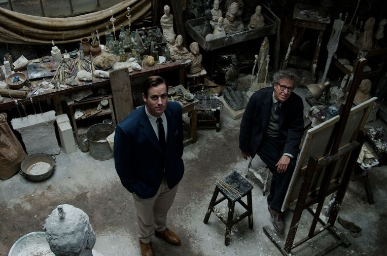 'Final Portrait'-acteurs Armie Hammer (kunstcriticus James Lord) en Geoffrey Rush (Alberto Giacometti). Beeld RV Parisa Taghizadeh