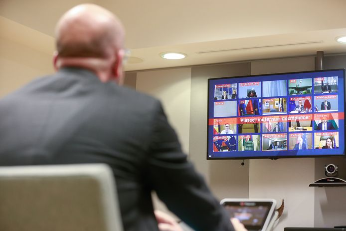 Tijdens de conference call stond EU-president Charles Michel in contact met andere EU-leiders.