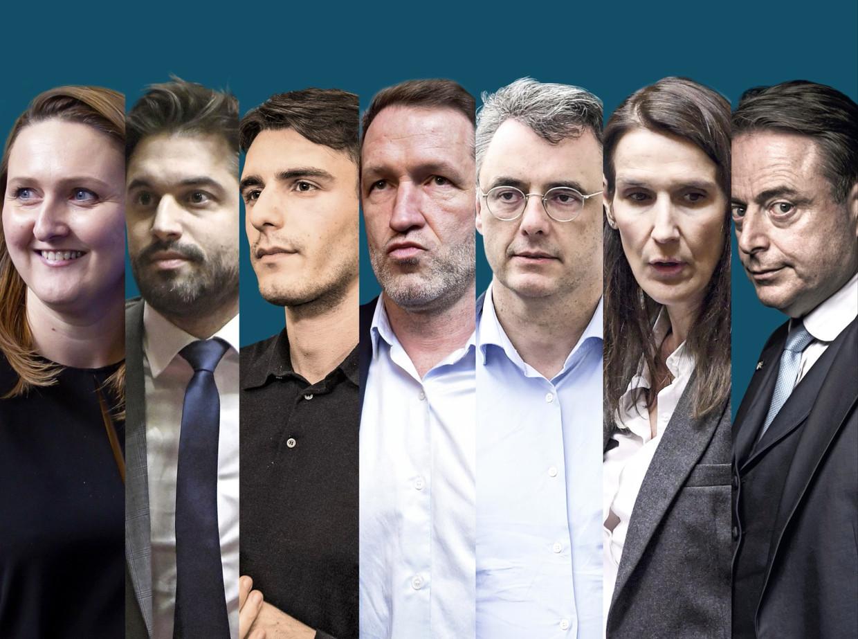 Gwendolyn Rutten, Georges-Louis Bouchez, Conner Rousseau, Paul Magnette, Joachim Coens, Sophie Wilmès en Bart De Wever. Beeld rv