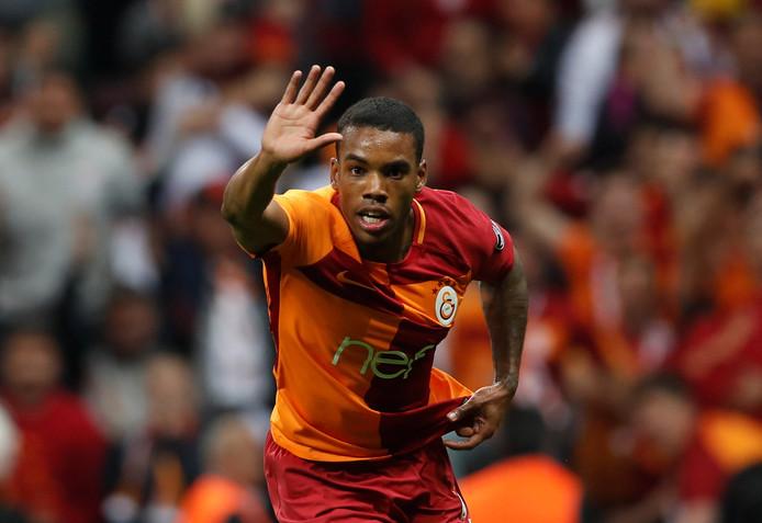 Garry Mendes Rodrigues viert zijn doelpunt namens Galatasaray in de derby tegen Besiktas op 29 april. Hij scoorde dit seizoen al tien keer voor de Turkse topclub.