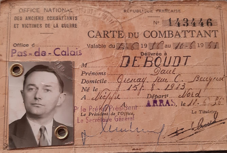 Het militaire identiteitsbewijs van Paul Deboudt, vader van Jean-Luc Deboudt uit Nuenen.