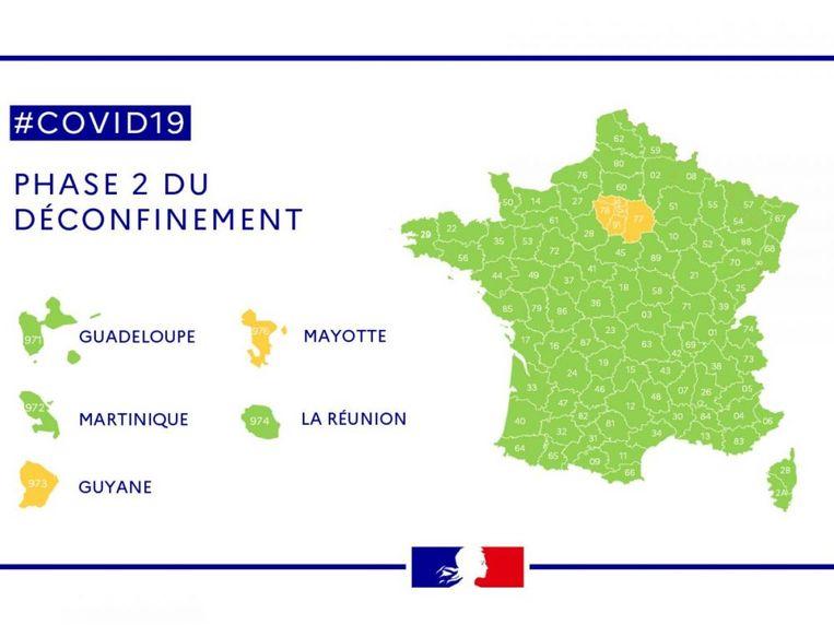 Recentste kaart van de Franse departementen: de Parijse regio Île-de-France blijft oranje, vermits het virus daar veelvuldiger circuleert. Beeld Franse regering
