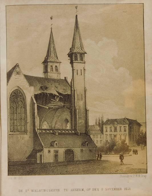 Tekening op steendruk van de schade aan de St. Walburgiskerk na het instorten van de toren op 8 november 1854.