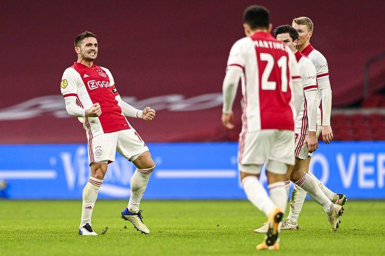 Dusan Tadic: 'Er is geen betere club voor jonge spelers dan Ajax. Je kunt hier zo veel leren, zó veel progressie boeken.' Beeld ANP