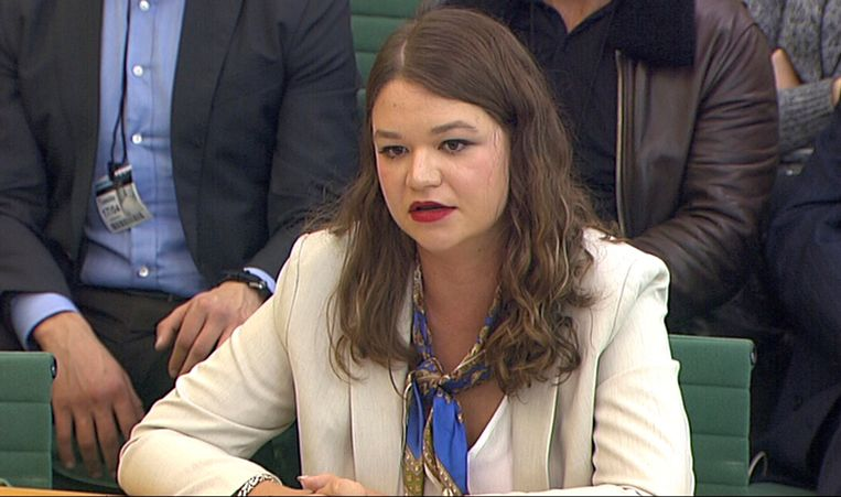Brittany Kaiser getuigde vandaag in het Britse parlement.
