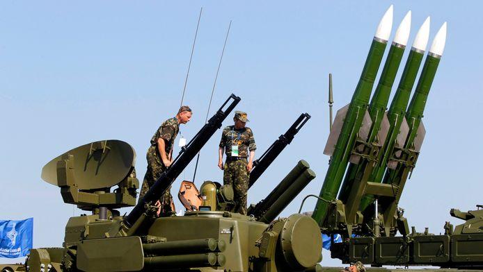 Een BUK-luchtafweersysteem even buiten Moskou.