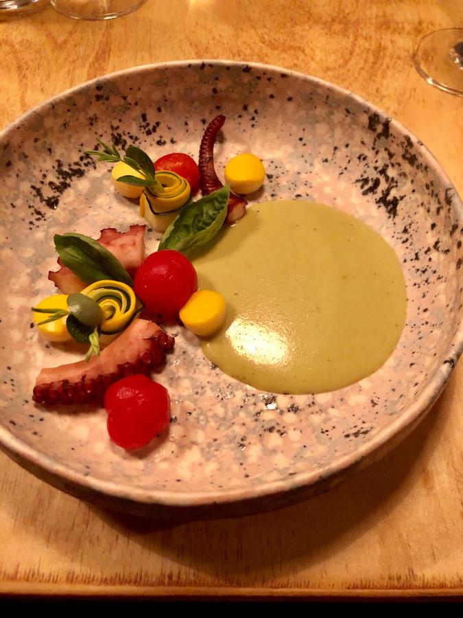 Groene curry met inktvis