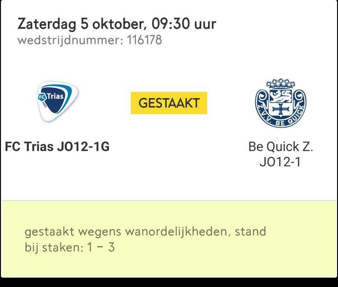Het duel van FC Trias O12-Be Quick Zutphen O12 haalde zaterdag het einde niet.